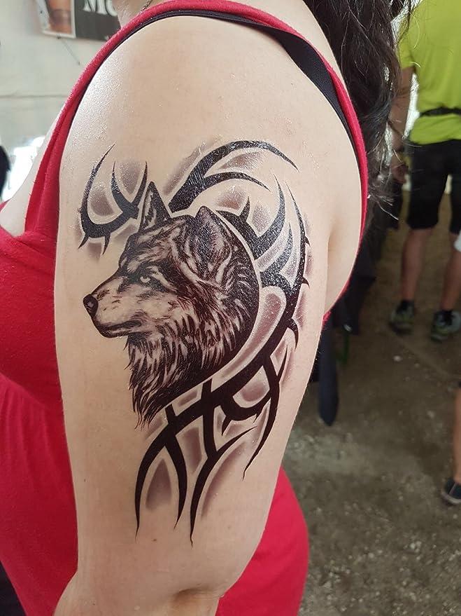 Hombres Tattoo Wolf y tribal negro brazo tatuaje pegatinas Fake ...