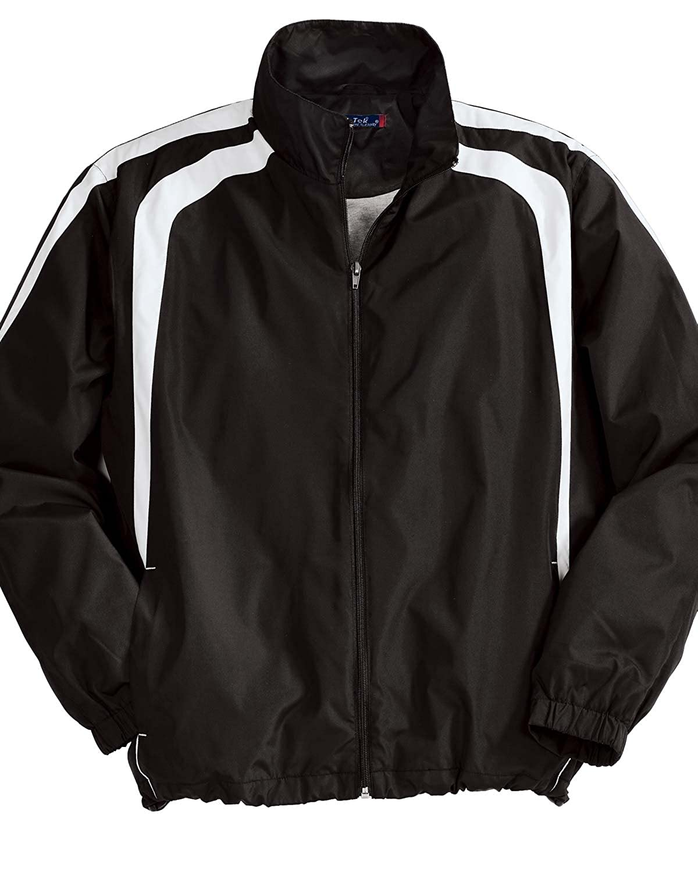 Large Black//White Sport Tek Mens Big Colorblock Raglan Jacket