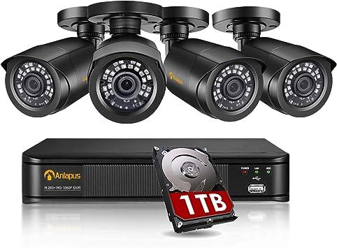 Opinión sobre Anlapus 1080P Sistema de Seguridad 8 Canales H.265+ Grabador DVR con 4 CCTV Cámaras de Vigilancia Exterior, 1TB Disco Duro, IR Visión Nocturna