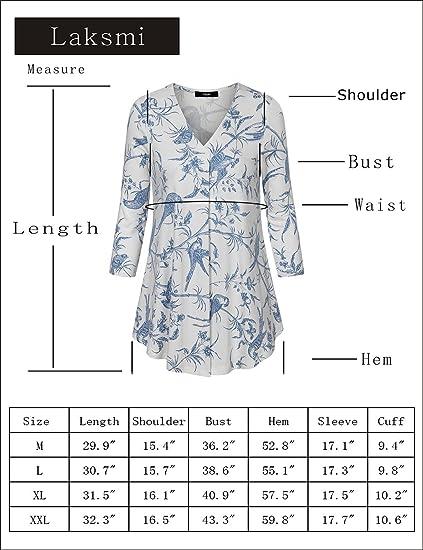 1853b58d5b093 Laksmi Womens Floral Tunic Tops 3 4 Sleeve V Neck Pleated Casual Tunic  Blouse (Medium