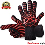 Panshi BBQ Gloves,932°F Heat Resistant Grilling Oven Glove,Kitchen Cooking Mitts with Forearm Protection,Non Slip Silicone Insulated Coating Grill Gloves, Spider Man Pattern(1 Pair)