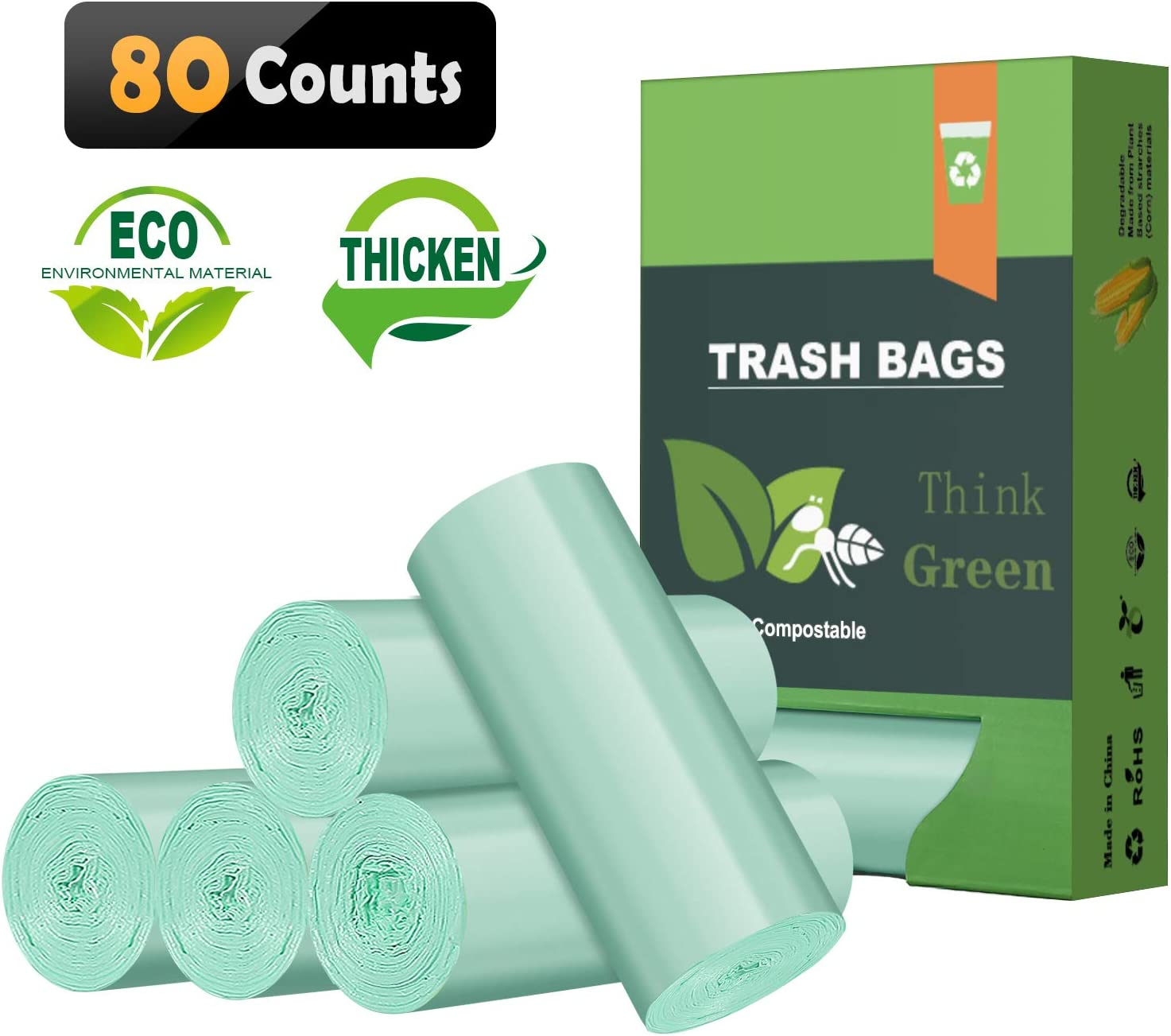 8 Gallon Biodegradable Trash Bags, Thicken 0.98Mils Recycling Bags, Unscented Strong Compostable Trash Bags for Office,Home,Bathroom,Bedroom,Car,Kitchen,Pet Trash Can Liners