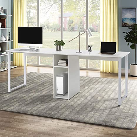 Home Office Double Workstation Desk Large Dual Desk 2 Person Workstation Desk Double Computer Desk Writing Desk With Storage 78 74 L X 23 62 W X 29 92 H Mdf White Amazon Ca Home Kitchen
