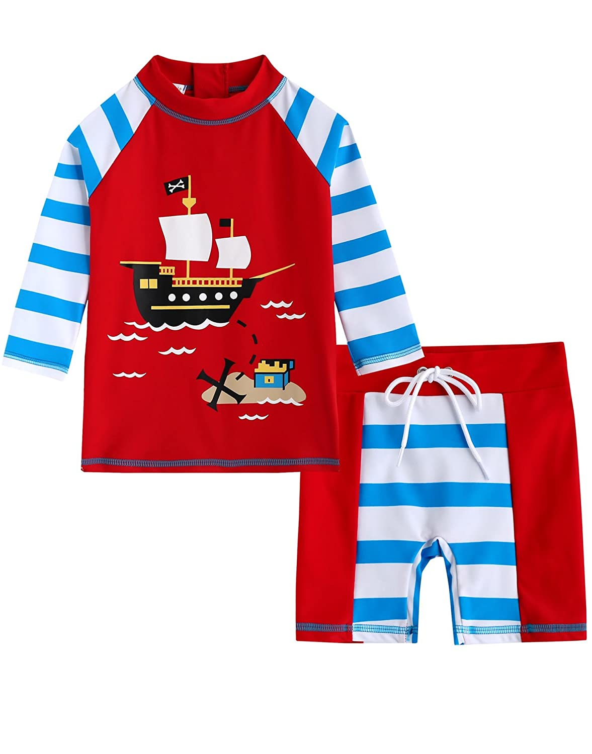 [Free Shipping]Vaenait Baby 2-7 Years Infant Boys Rashguard swimsuit Marine Pirate BSW_024