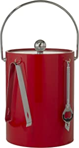 Hand Made In USA Red Double Walled 5-Quart Insulated Ice Bucket With Ice Tongs & Bottle Opener