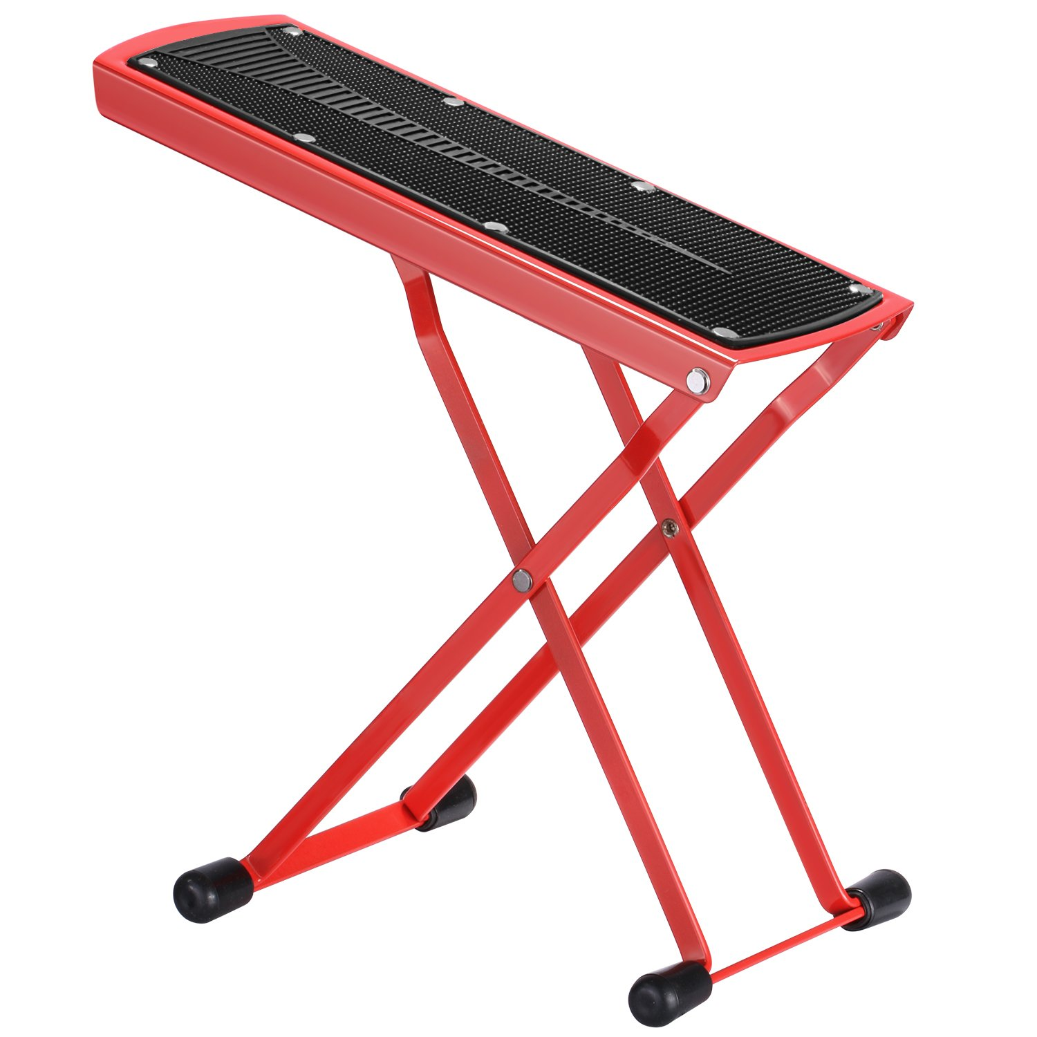 Neewer Extra Sturdy Guitar Foot Rest Made of Solid Iron, Provides 6 Easily Adjusted Height Positions, Excellent Stability with Rubber End Caps and Non-slip Rubber Pad (Red) 40089207