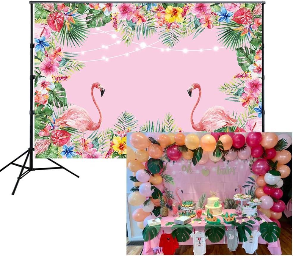 HUAYI 6.5x5ft Summer Tropical Style Hawaiian Beach Luau Floral Flamingo Birthday Backdrop for Photography Baby Shower Dessert Table Decor Photocall Studio Background W-1902