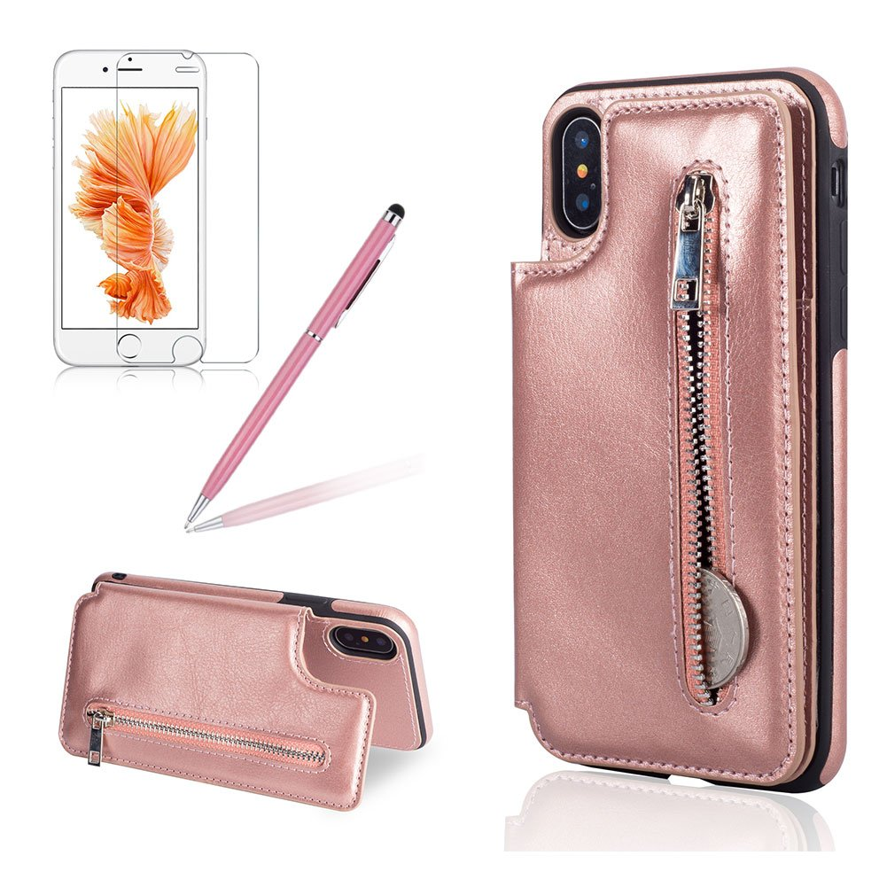 Girlyard for iPhone XS Case with Credit Card,iPhone X Multifunction Premium Zipper Wallet Purse Slim Leather Case Magnetic Closure Folding Stand Function Shockproof Protective Case for iPhone X/iPhone XS 5.8 Inch-Black