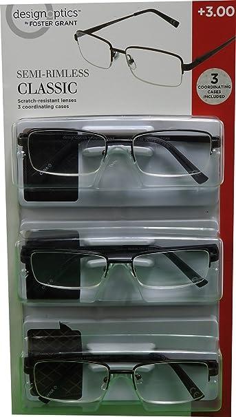 27aa3eac45a6 design Optics 3-Pk +300 Classic Semi-Rimless Reader Glasses   Soft Cases