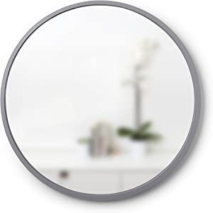 """Umbra, Grey Hub 24"""" Round Wall Mirror With Rubber Frame, Modern Decor for Entryways, Bathrooms, Living Rooms Inch"""