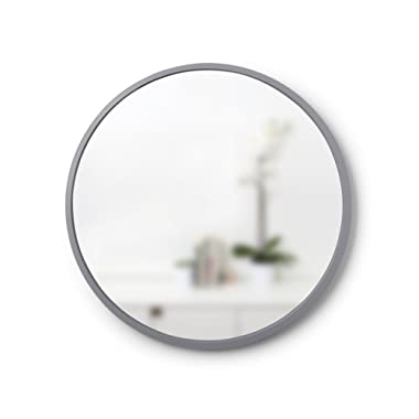 """Umbra Hub 24"""" Round Wall Mirror With Rubber Frame, Modern Room Decor for Entryways, Washrooms, Living Rooms and More, Grey"""