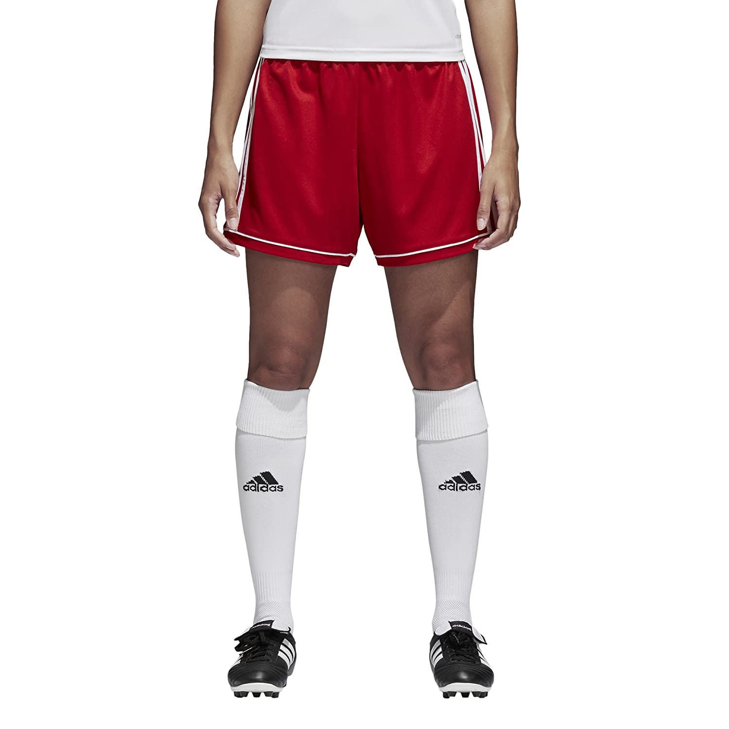 AdidasレディースサッカーSquadra 17 Shorts B01HE3CG2U 3L|Power Red/White Power Red/White 3L