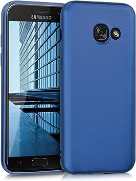 kwmobile Coque Compatible avec Samsung Galaxy A3 (2017) - Housse de téléphone en Silicone Bleu métallique