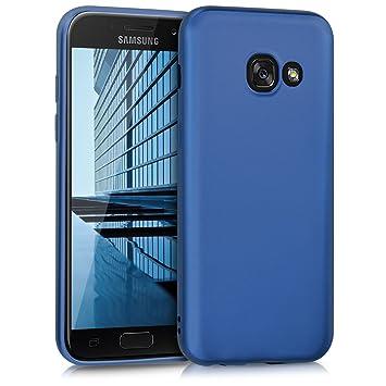 kwmobile Funda para Samsung Galaxy A3 (2017) - Carcasa para móvil en TPU Silicona - Protector Trasero en Azul Metalizado