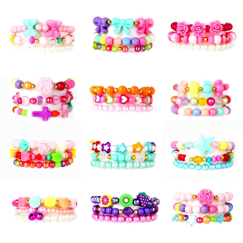 PinkSeep Beaded Bracelets for Kids- 12 Pack 36 PC, Little Girl Plastic Bracelets, Flower Butterfly Pink Bracelet, Party Favor by PinkSheep