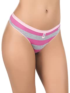 Laura Womens Striped Cotton Thong Just Love