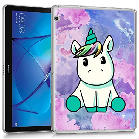 enorme sconto ce36c b597a ZhuoFan Cover Huawei Mediapad T3 10, Custodia Cover Silicone Traslucido con  Disegni Slim Antiurto TPU Morbido Bumper Case per Huawei Mediapad T3 10, ...