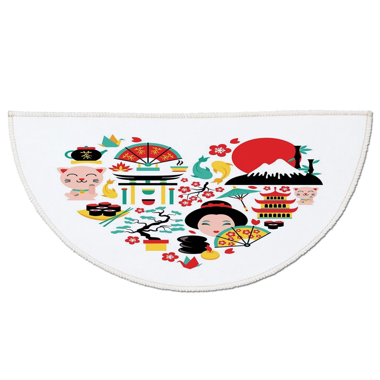 Half Round Door Mat Entrance Rug Floor Mats,Japanese,The Land of the Rising Sun Culture Bonsai Tree Fuji Mountain Tea Sushi Zen Design,Multicolor,Garage Entry Carpet Decor for House Patio Grass Water