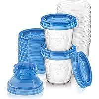Philips Avent - Set de recipientes para leche materna (10 recipientes + 10 tapas + 2 adaptadores)