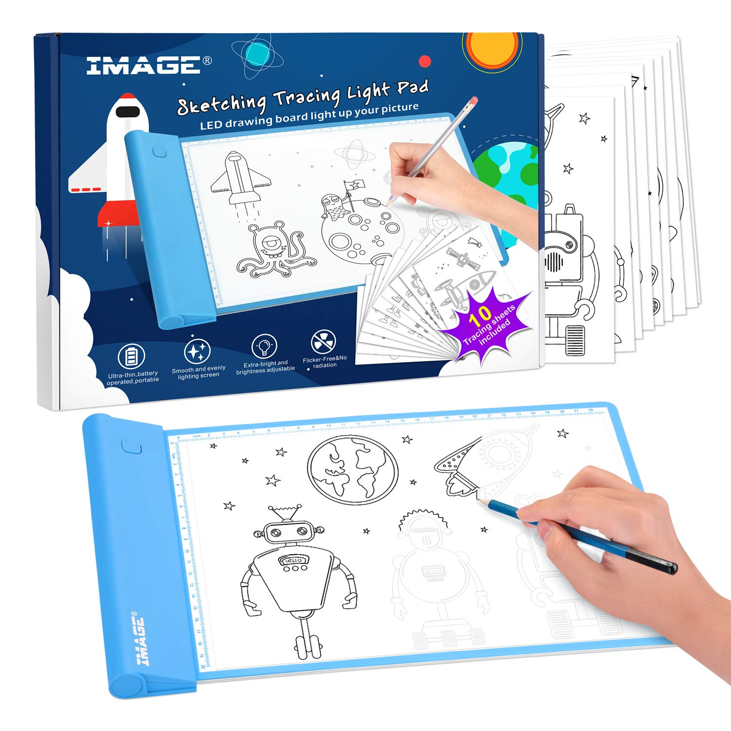 Image Light Up Tracing Pad Blue Drawing Tablet Coloring Board For Kids Children Toy Gift For Boys Girls Ages 6 7 8 9 10 Includes 10 Traceable Sheets