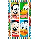 Kids Euroswan Toalla Playa de 140 x 70 cm, Estampado Mickey Mouse, Algodón, Multicolor, 30x35x5 cm