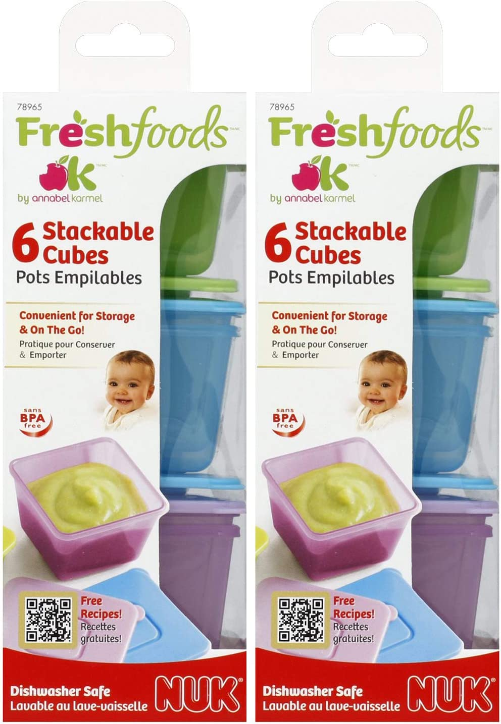 Stack & Store Food Storage Cubes with Lids (2 Pack)