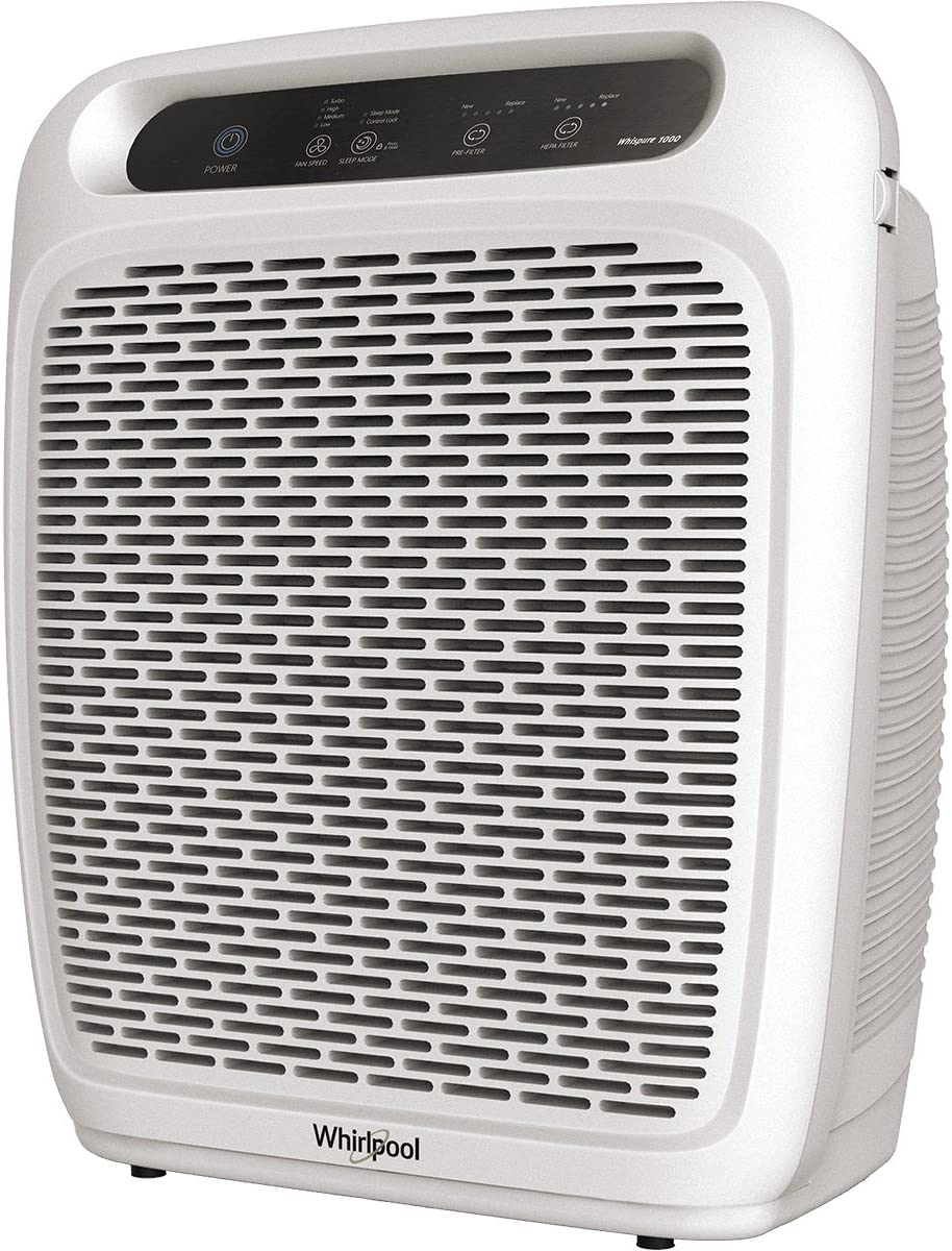 Whirlpool Whispure Air Purifier – WP1000 Upgrade Ver. of WP500 490 sq ft TRUE HEPA Filter 8171510K 1183054K, 4-Speed Plus Turbo, Removes Pollen, Pet Dander, Smoke, Odors WP1000P-Pearl White .
