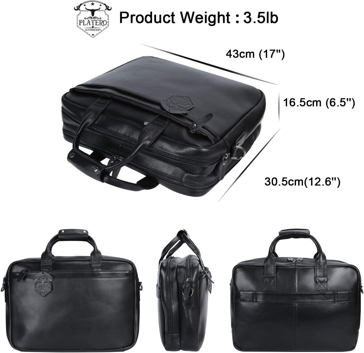 Noir Platero Nappa Sacoche en Cuir v/éritable pour Homme Messenger Bag Fit 15.6  Sacoche pour Ordinateur Portable Sacoche pour Les Affaires
