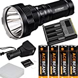 Acebeam K70 CREE XHP35 Hi LED Flashlight Use 4 x 18650 Battery 2600lumens Throw 1300meters with with 4 X IMR 18650 3100MAH battery, I4 charger
