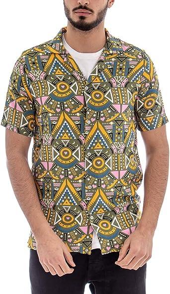 Giosal - Camisa de Hombre de Manga Corta con Cuello de fantasía, Estampado de Dibujos y Formas Fondo Verde XL: Amazon.es: Ropa y accesorios