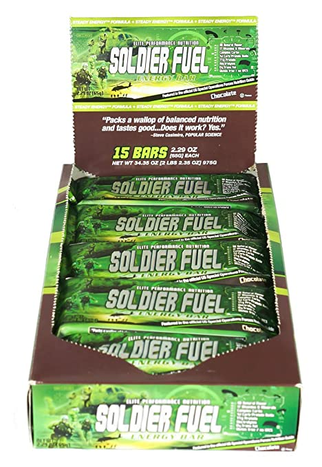 amazon com soldier fuel energy bars real chocolate 2 29 ounce