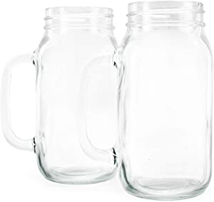 Darware Mason Jar Mugs with Handles (24oz, 4-Pack); Glass Drinking Glasses for Beverages, Decoration, Storage, Party Favors, Cocktails, Floats, Centerpieces and more