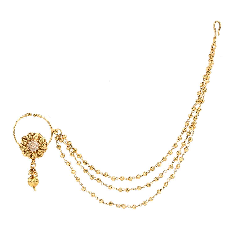 Buy Dancing Girl Nath Bridal Nose Ring Nathni Golden Kundan Nose