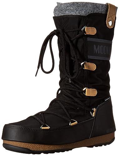 Moon Boot Womens Tecnica Original Monaco Felt Waterproof Snow Mid Calf Boots  - Black - 6.5