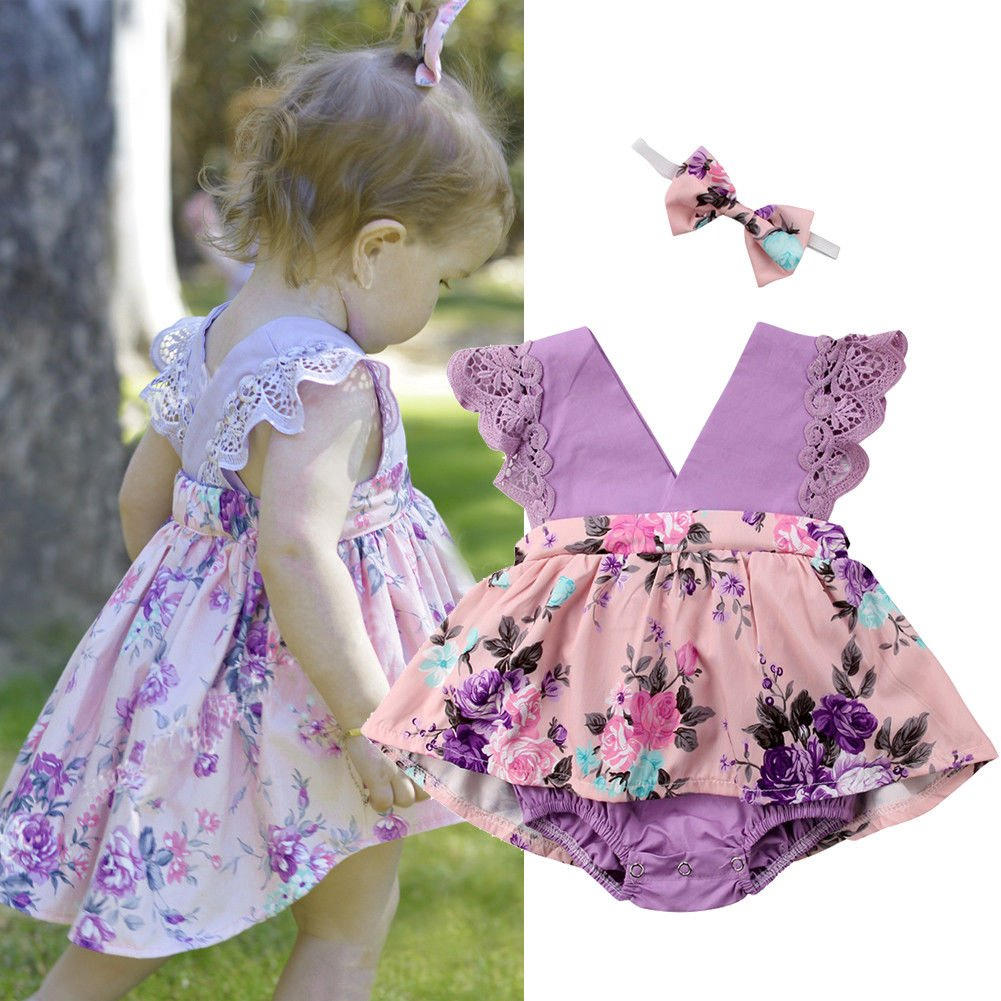 HappyMA Toddler Baby Girl Clothes Floral Dress Lace Ruffle Sleeveless Backless Skirt with Headband 2Pcs Outfit (Purple, 12-18 Months) by HappyMA (Image #2)