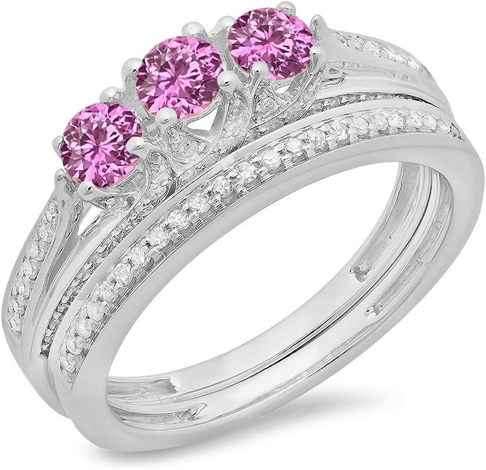 DazzlingRock Collection 14K Oro Corte Redondo Rosa Zafiro y Diamantes Mujer Nupcial 3 Anillo de Compromiso de Piedra con Conjunto de Banda 4