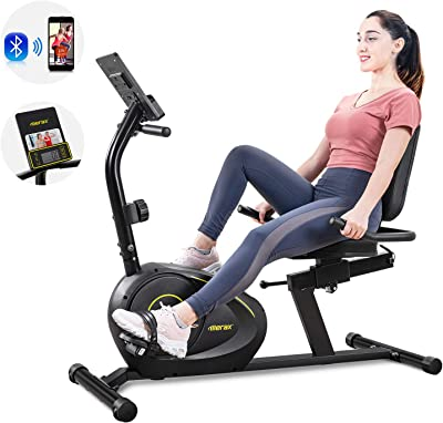 Merax Magnetic Recumbent Exercise Bike with Bluetooth | 8-Level Resistance | Quick Adjust Seat