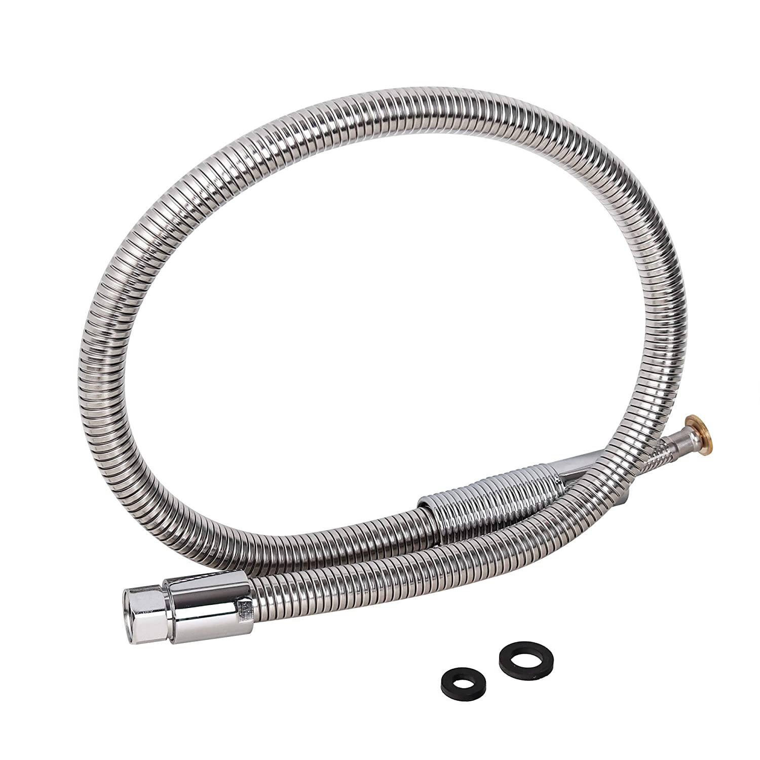 "Commercial Dishwasher Hose Replacement,Pull-Down Kitchen Tap Sink Faucet Hose Stainless Steel 1/2"" Length 37"" Chrome"