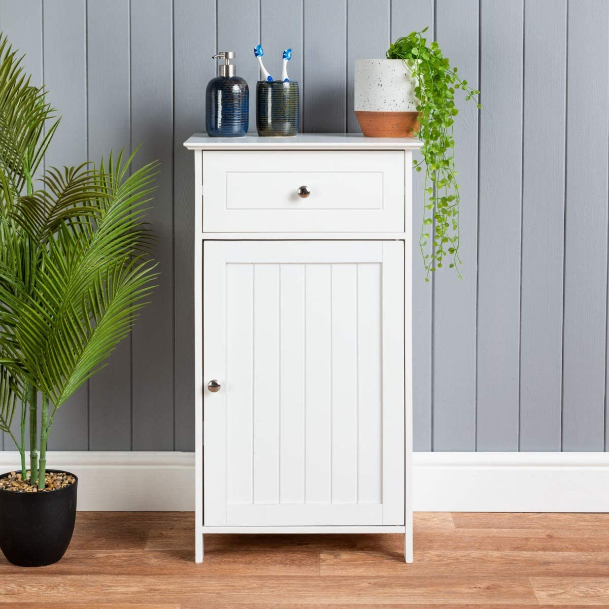 CHRISTOW White Bathroom Cabinet Floor Standing, Small Wooden Drawer Storage Cupboard Unit With Shelf & Drawer