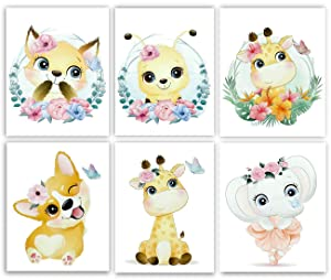 Gawell Nursery Decor Wall Watercolor Baby Room Decoration Cartoon Animals Pictures - 6 Pack Animals Theme Nursery Wall Art Decals for Boys Girls Kids Children's Bedroom - Without Frame