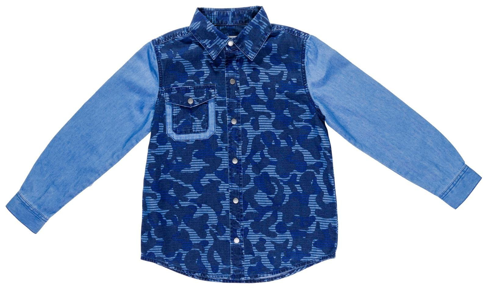 Stella McCartney Kids Boys' Samuel Camo Printed Shirt, Blue, 6 by Stella McCartney Kids