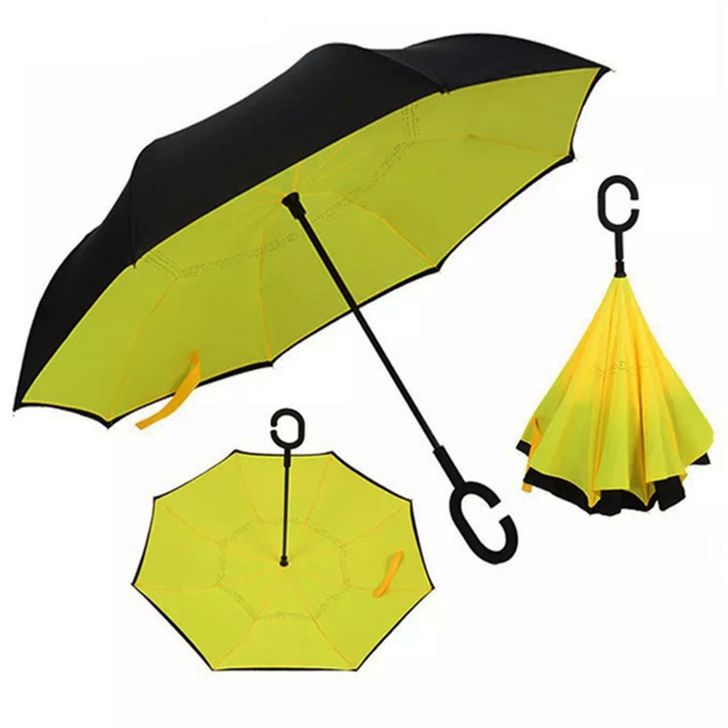 Amazon.com : Miki Da Inverted Umbrella Double Layer sun parasol Women Rain Reverse Umbrellas male guarda chuva invertido paraguas parapluie Windproof Black ...