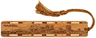 product image for Philadelphia Pennsylvania Skyline Engraved Wooden Bookmark with Tassel - Also Available Personalized