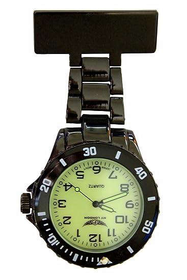 NY London negro con brillo luminoso en la oscuridad cara Metal enfermera médico paramédico FOB reloj broche Extra batería: Amazon.es: Relojes