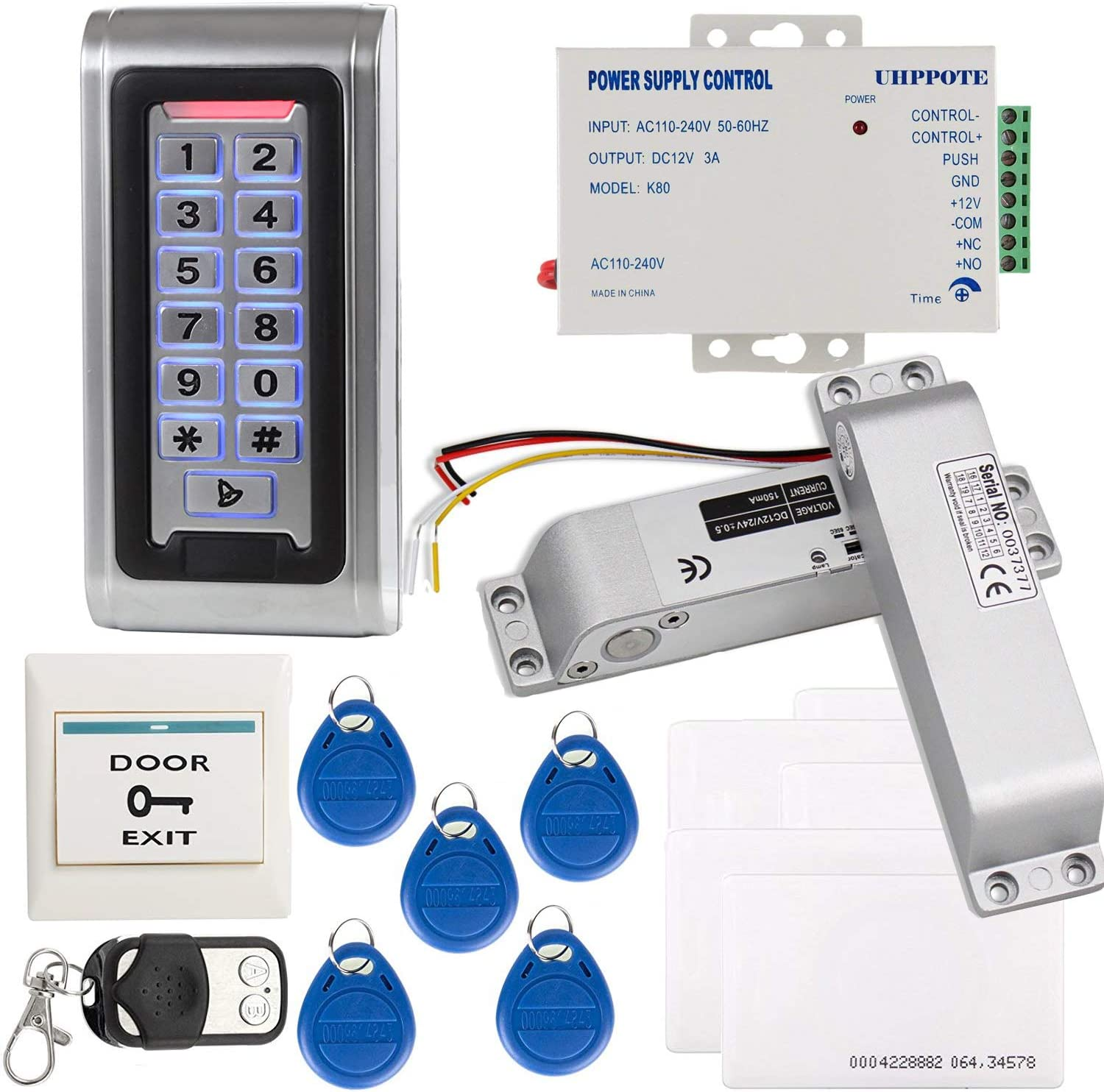 Full Complete Stand-alone Door Access Control System Kit With Electric Bolt Lock Power Supply Remote Control  Camera & Photo