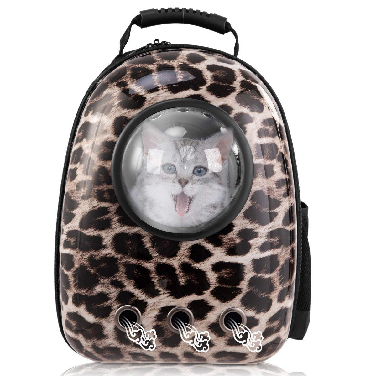 Leopard Print Pet Carrier Travel Bag,TEMACOO Cat Space Capsule Backpack Dog Bubble Traveler Knapsack Multiple Air Vents Breathable Backpack Portable Outside Handbag Fit Puppys Kitties Petite Animals (Leopard Print)