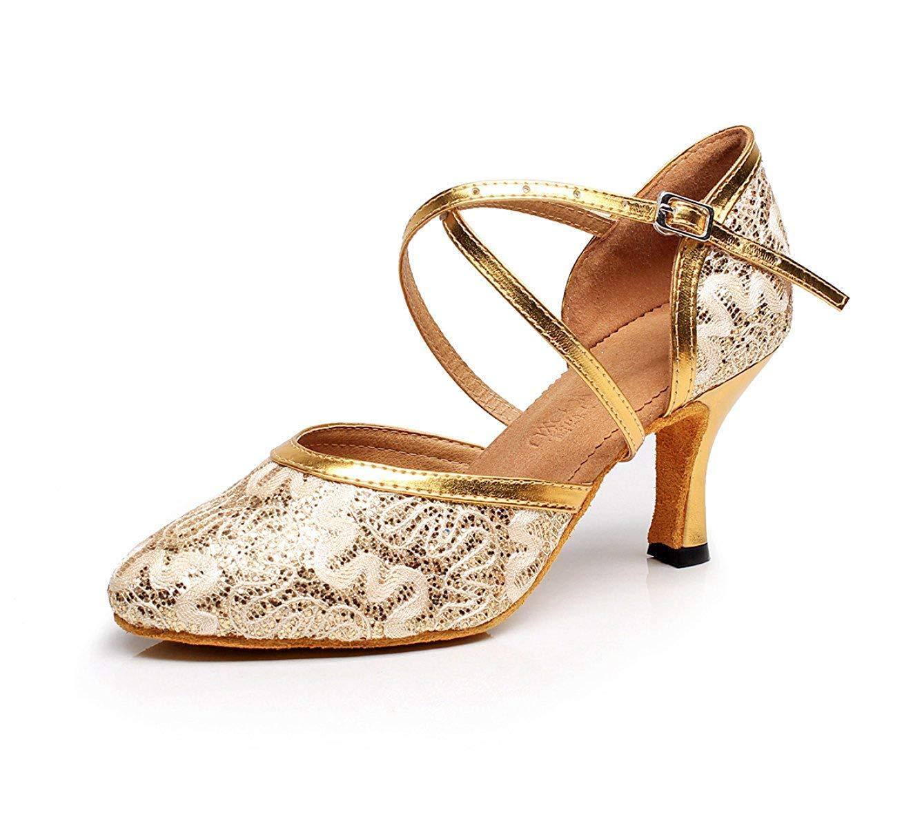 Yingsssq Damenmode Mesh Ballsaal Latin Tango Tanzschuhe Damen Weiche Sohle Absatzschuhe für Tanzunterricht Gold-heeled7.5cm-UK4.5   EU36   Our37