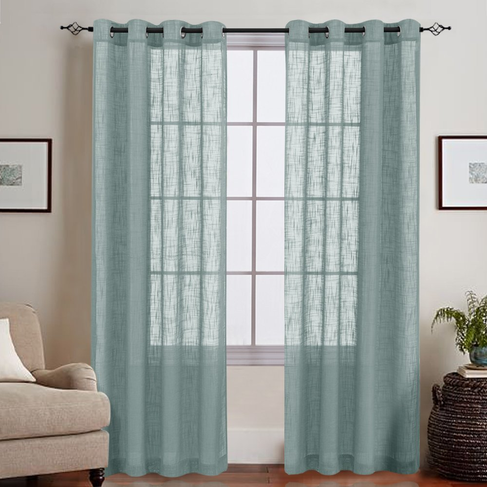 Topick Open Weave Sheer Curtains, Living Room Slub Decorative Voile Window Treatments, Pack of Two, 55 by 84-Inch, Blue Haze