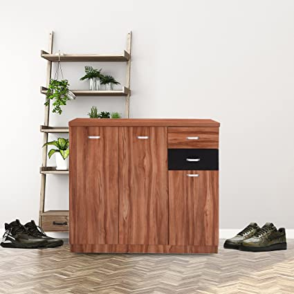 Royaloak Iris Three Door Shoe Rack Teak Amazon In Home Kitchen