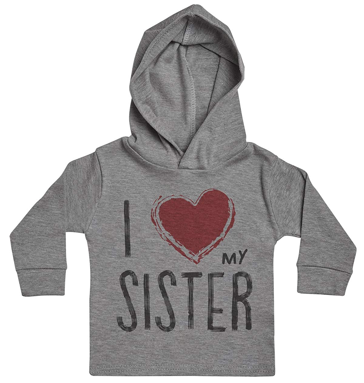 Baby Girl Hoody Baby Clothing I Love My Sister Red Heart Baby Boy Hoody Baby Gift Baby Hoody